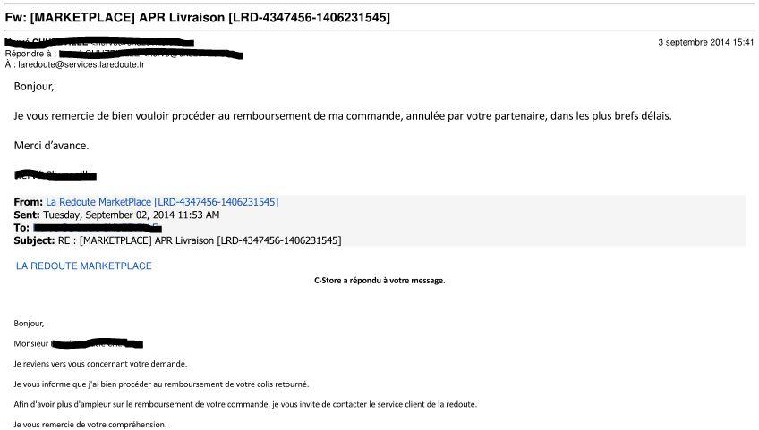 R solu arnaque sur la marketplace non fiable de la - La redoute contact mail ...
