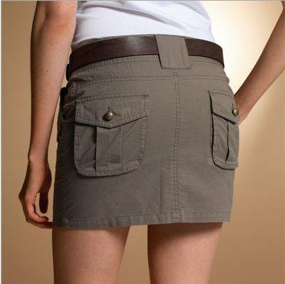 mini jupe battle kaki taille basse en coton 33 cm pas. Black Bedroom Furniture Sets. Home Design Ideas